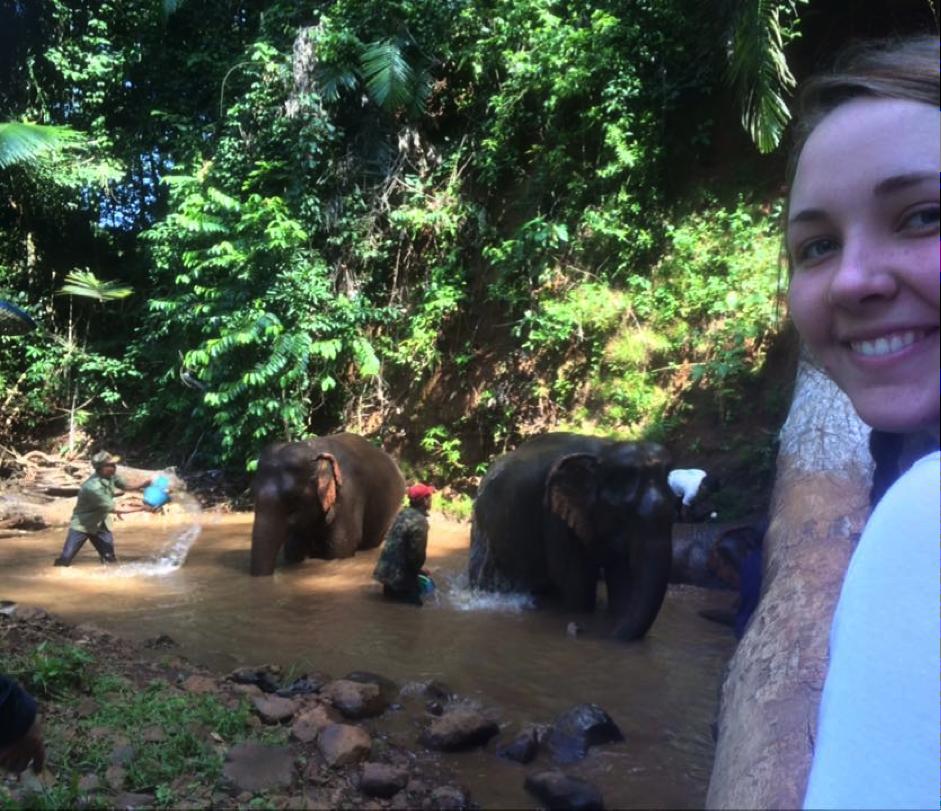 Cambodia - girl watching elephants bathing
