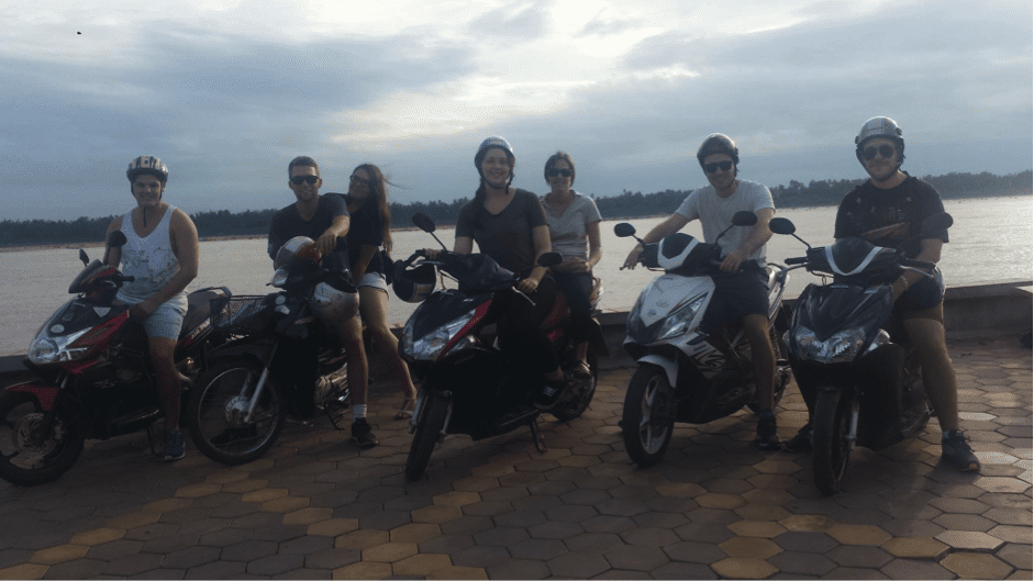 Cambodia - students on mopeds