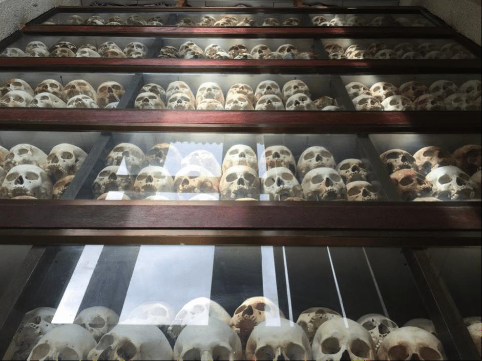 Cambodia - human skulls in cabinet