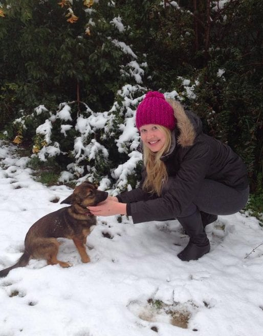 Zoe and puppy in the snow