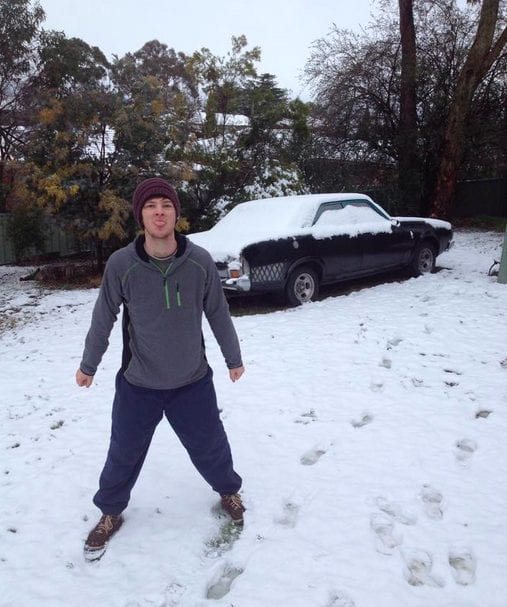 Josh Hugo in the snow