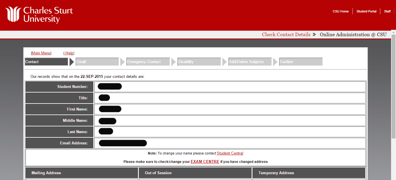 Screen grab of the Online Administration interface showing the Contact details screen