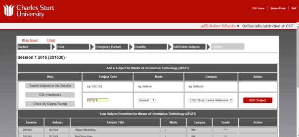 Screen grab of the Online Administration interface showing a confirmation page for the changes