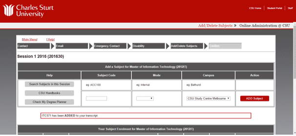 Screen grab of the Online Administration interface showing the subject has been successfully added
