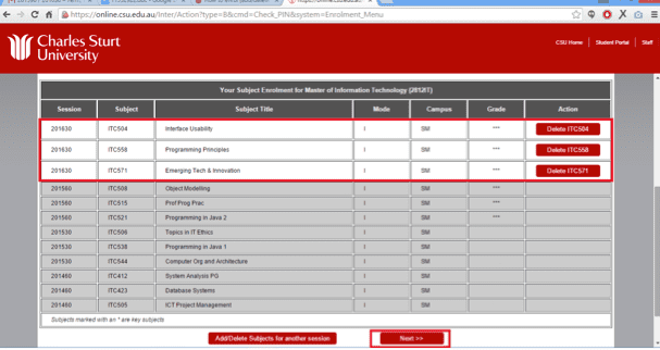 Screen grab of the Online Administration interface showing enrolled subjects with an option on the right to delete individual items