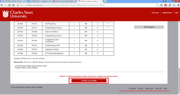Screen grab of the Online Administration interface showing a confirmation screen of changes made