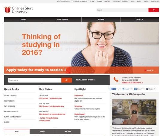 Screen grab of the CSU Website