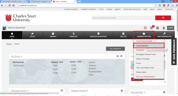 Screen Grab of Student.CSu with Administration highlighted in main navigation bar and the link to Your Enrolment selected
