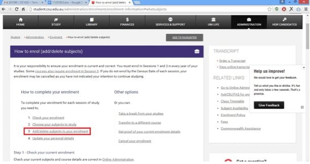 Screen grab of the How to Enrol page with the link to Add/Delete subjects to your enrolment highlighted