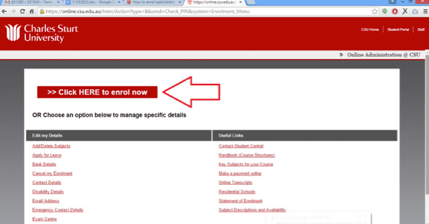 Screen grab of the Online Administration interface with the link to Click Here to Enrol now highlighted