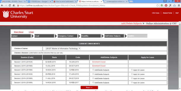 Screen grab of the Online Administration interface Add/Delete Subjects Screen