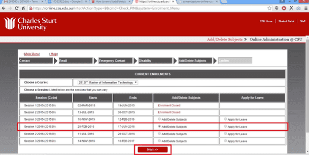 Screen grab of the Online Administration interface Add/Delete Subjects Screen with the row being edited highlighted