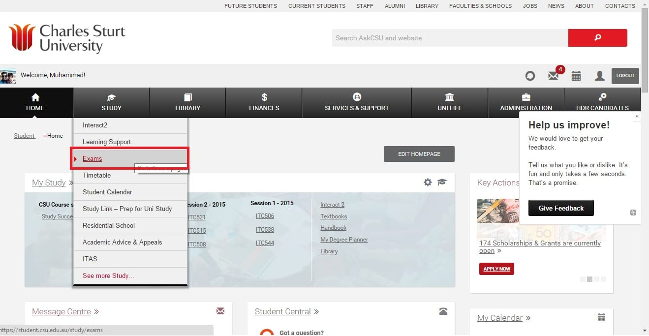screen grab of student portal menu with the 'exams' link highlighted, under the study tab available at the top navigation