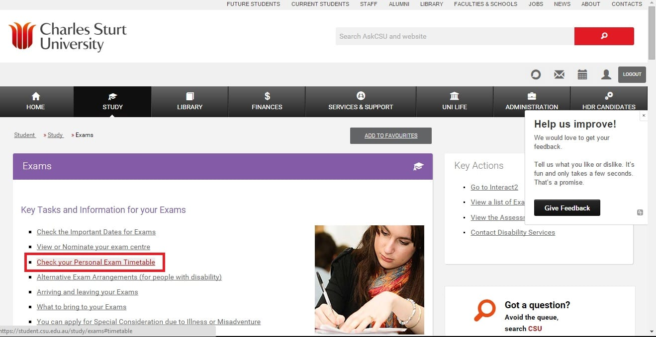screen grab of exams page in the student portal, with 'check your personal exam timetable' link highlighted