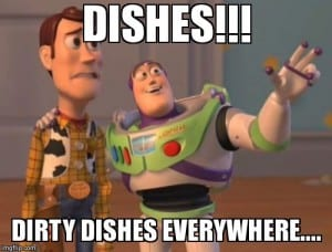 Dishes!! Dirty dishes everywhere...
