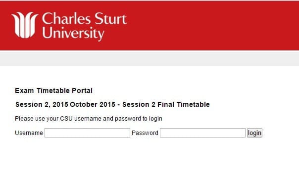 screen grab showing a CSU student username and password login screen