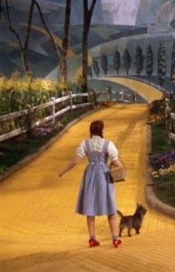 Dorothy and Toto on the Yellow Brick Road