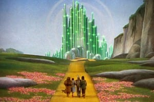 Lion, Dorothy, Tin Man and Scarecrow approaching the Emerald City