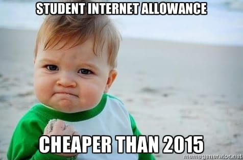 Student internet allowance cheaper than 2015