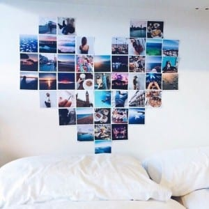 photos arranged in a collage on wall