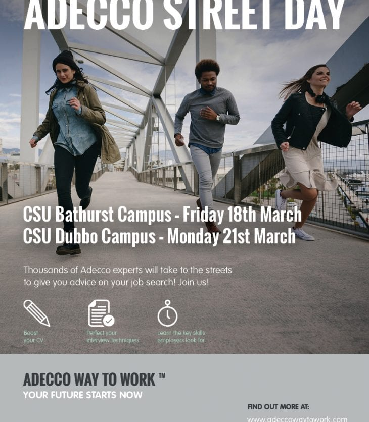 Adecco Street Day Bathurst Campus 18 March and Dubbo Campus 21 March
