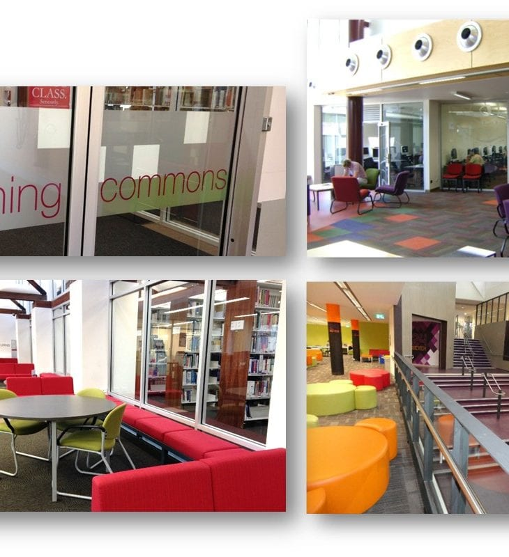 images of CSU library learning commons, study areas and entrances