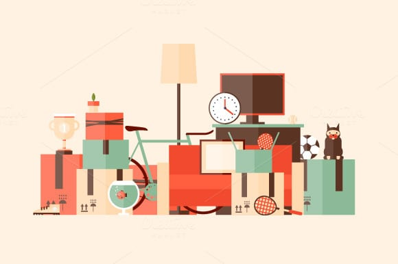 illustration of boxes and belongings piled up