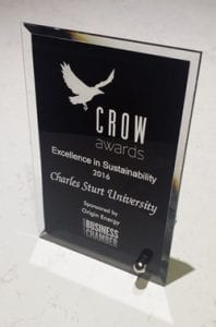 Crow Awards Excellence in Sustainability Award 2016. Charles Sturt University. Sponsored by Origin Energy. Wagga Wagga Business Chamber trophy