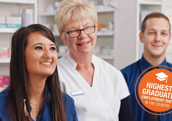 Pharmacy students in workplace setting: Highest graduate employment rate in the country