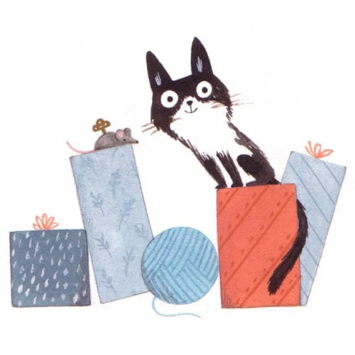 cat with gifts illustration