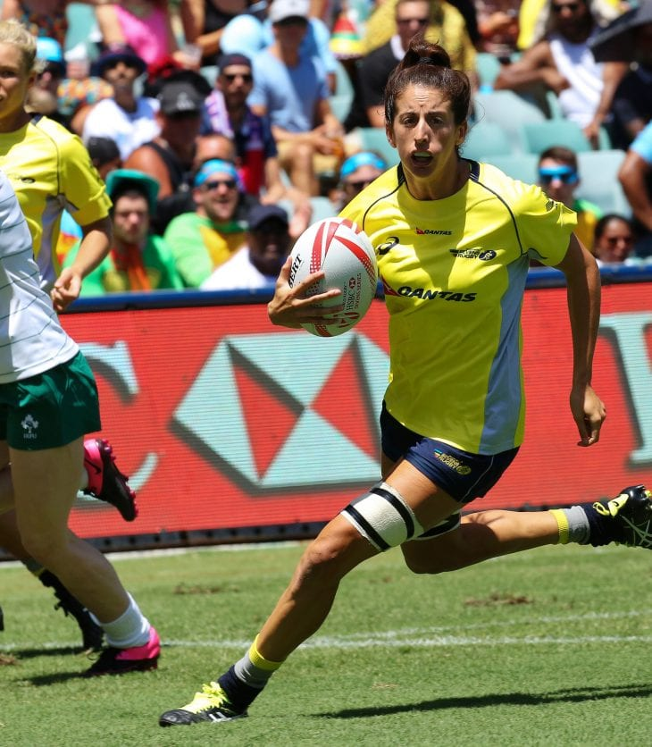 Alicia Quirk playing rugby sevens