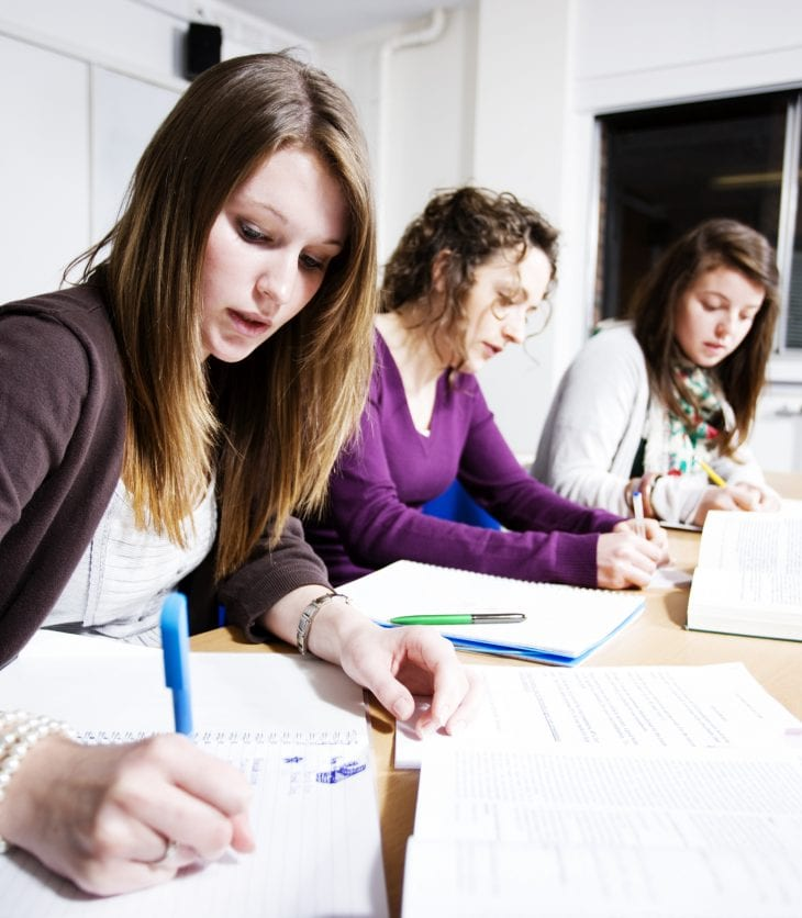 group of female students studying