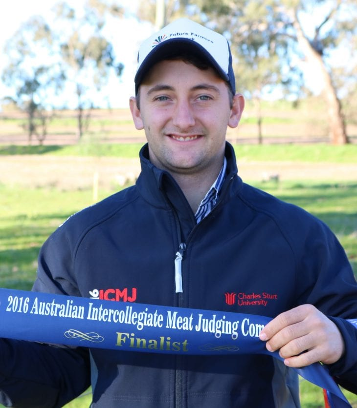 Macky Lawrence with meat judging competition ribbon