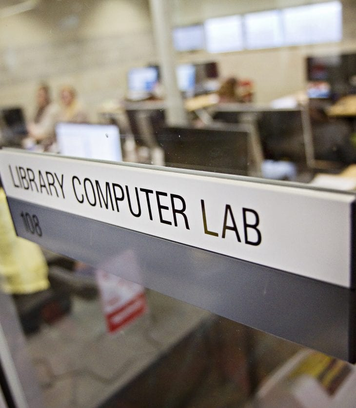 Library computer lab: image of students working in the computer laboratory