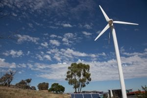 image of wind turbine overlooking CSU campus