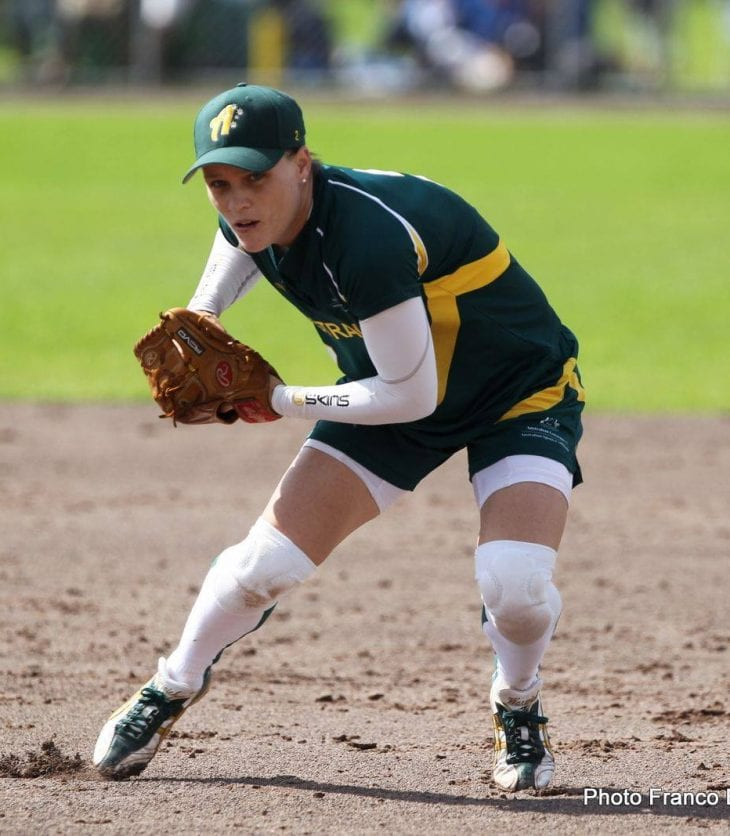 Image of Clare Warwick playing softball