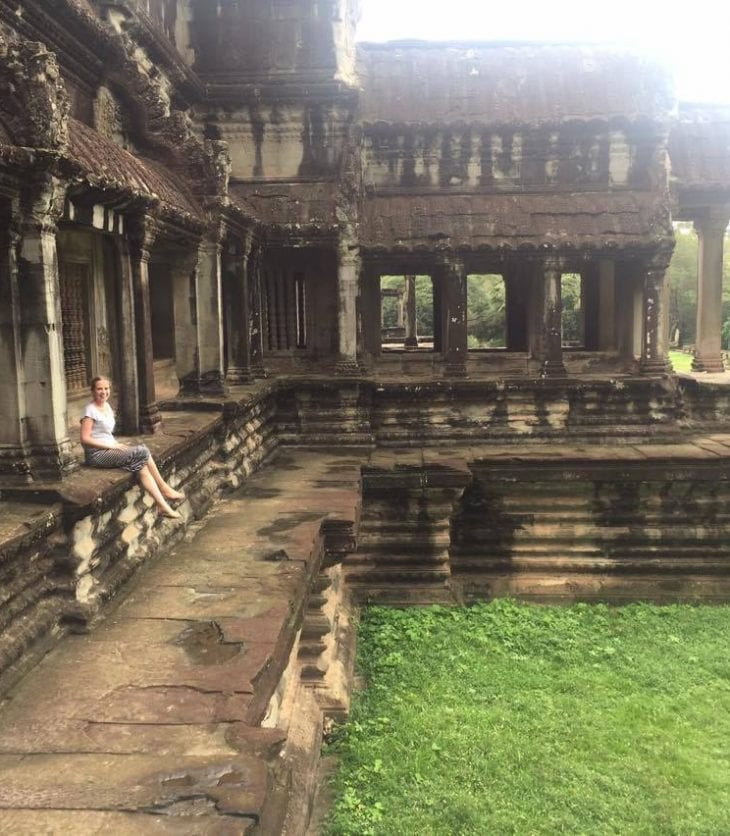 Fiona O'Connor at Angkor Wat in Cambodia during a CSU Global tour