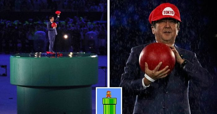 Japan's Prime Minister Shinzō Abe emerging from a warp pipe dressed as Super Mario
