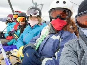 CSU Snow Uni Games competitors on chairlift