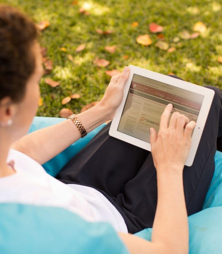 CSU Studen using tablet