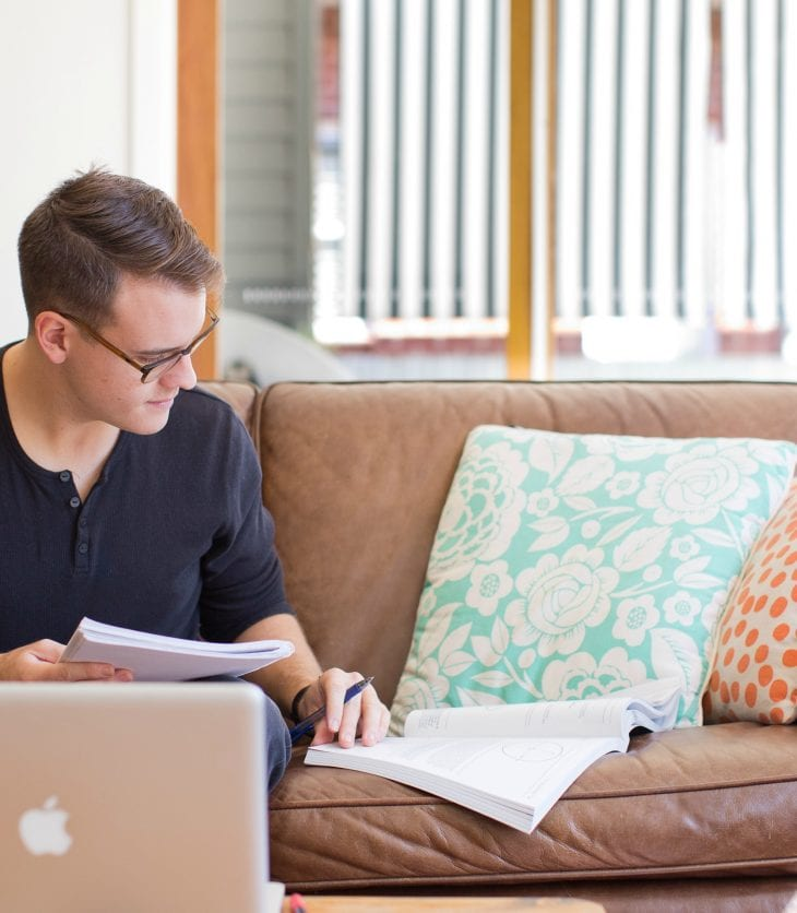 Student studying in rental home