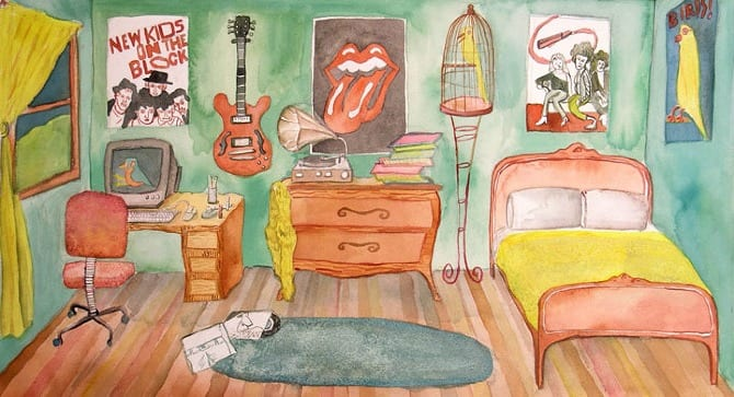Cartoon image of students bedroom.