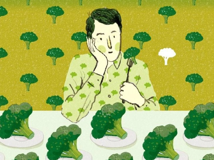 Cartoon images with person not wanting to eat broccoli