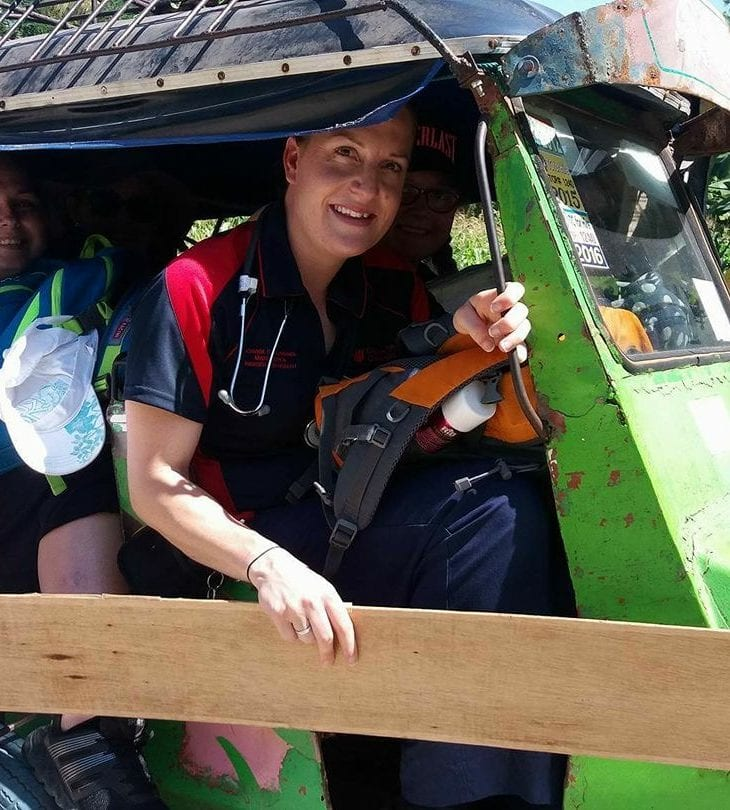 Nursing student Catreena Kuhn on her work placement in the Philippines.