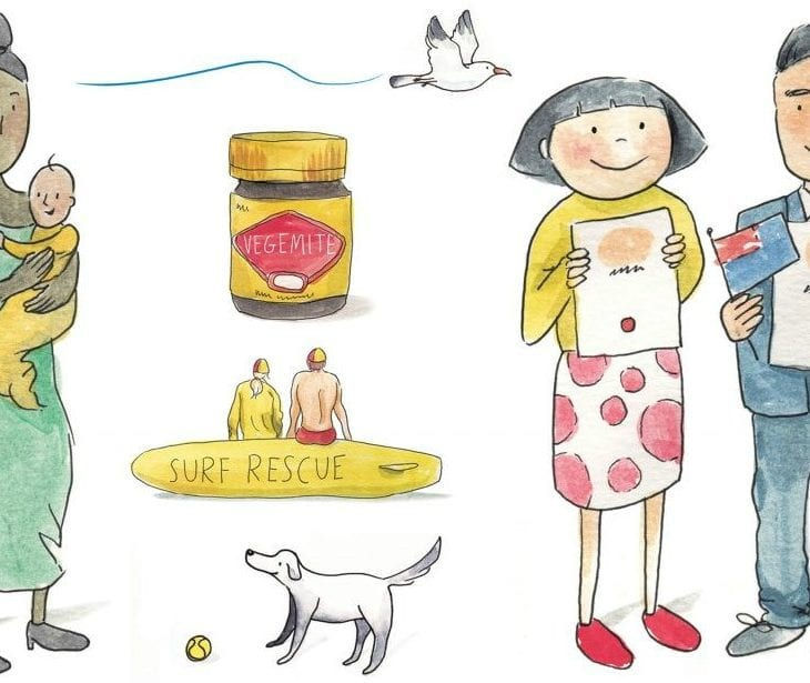 Vegemite, family, Australian flag, surfing - cartoons