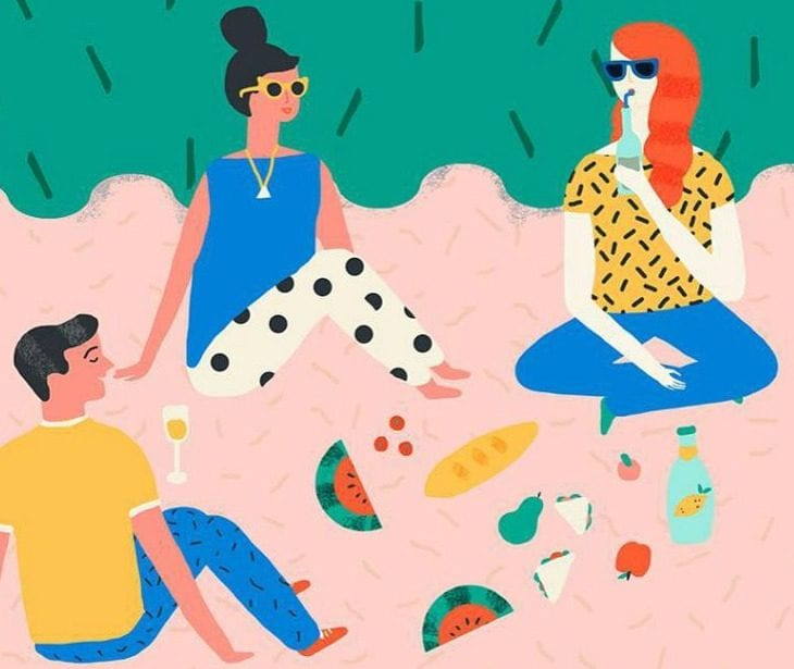 Cartoon people sitting on a beach towel with refreshments