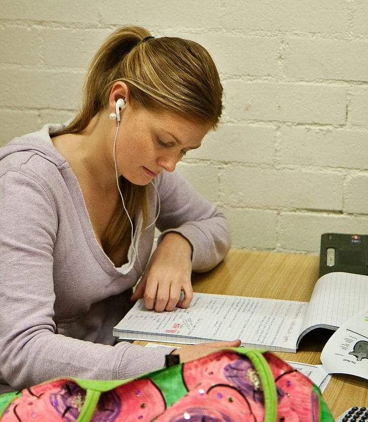CSU student studying in the library.