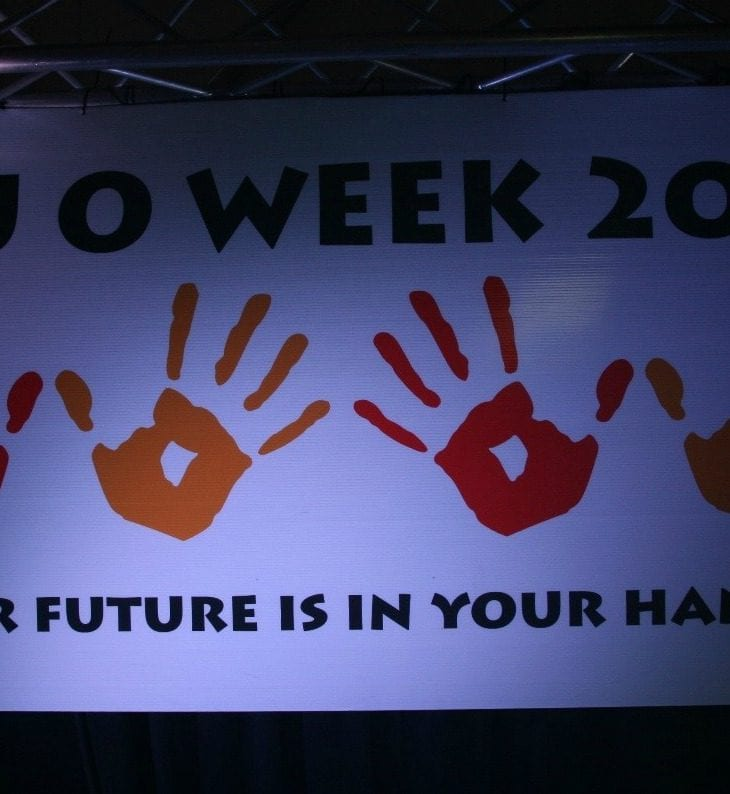 CSU O Week 2017 banner with hands prints