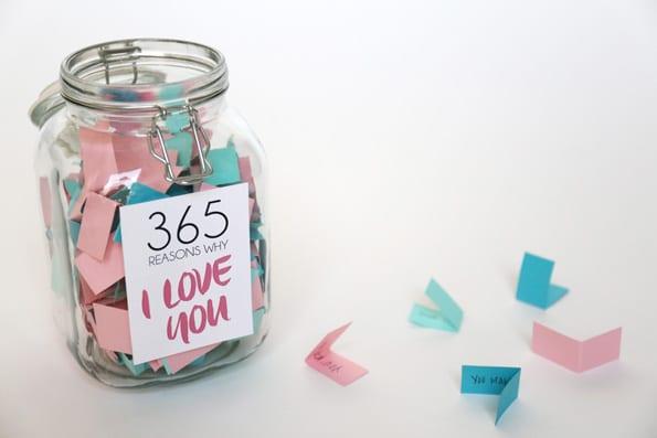 Reasons I love you - in a jar.