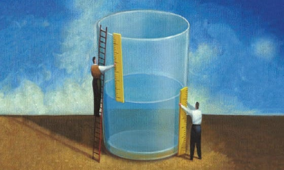 Cartoon image of two men measuring an oversized cup of water.